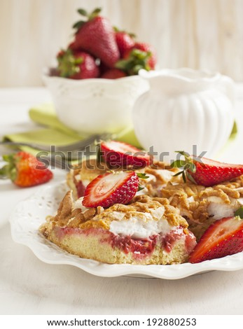 Strawberry cake with meringue #192880253