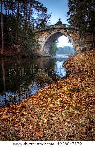 Arched stone bridge in autumn forest. Forest river bridge in autumn. Autumn forest river bridge view. River bridge in autumn forest Royalty-Free Stock Photo #1928847179