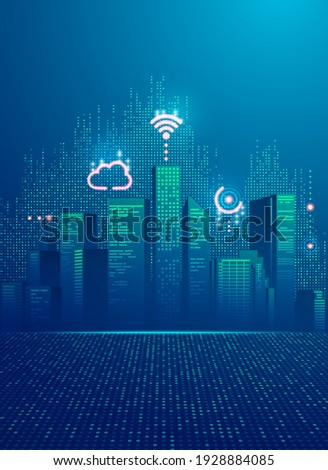concept of smart city, graphic of buildings with digital technology element Royalty-Free Stock Photo #1928884085