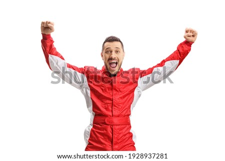 Car racer jumping and gesturing happiness isolated on white background Royalty-Free Stock Photo #1928937281