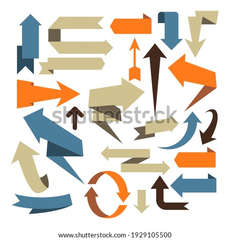 Arrow set, volumetric arrow designs, straight, bent and zigzag infographic arrows collection, vector Royalty-Free Stock Photo #1929105500