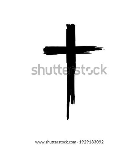 Black blotted cross. Vector illustration