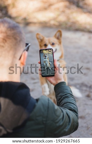 youg man taking a photo of his welsh corgi pembroke dog doing a trick