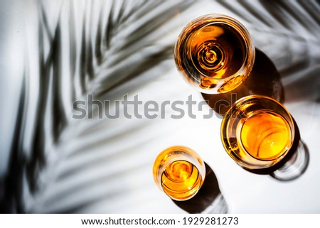 Hard strong alcoholic drinks, spirits and distillates in glasses: vodka, cognac, tequila, scotch, brandy and whiskey, grappa, vermouth, rum. White background with hard lights and shadows, top view Royalty-Free Stock Photo #1929281273