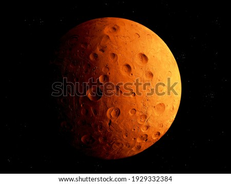 rocky planet in space, cosmic landscape, surface of the planet, mars isolated. Royalty-Free Stock Photo #1929332384