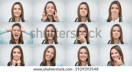 Set of beautiful woman showing several different facial emotions or expressions and gestures isolated on gray background. Collage of human emotions Royalty-Free Stock Photo #1929393548