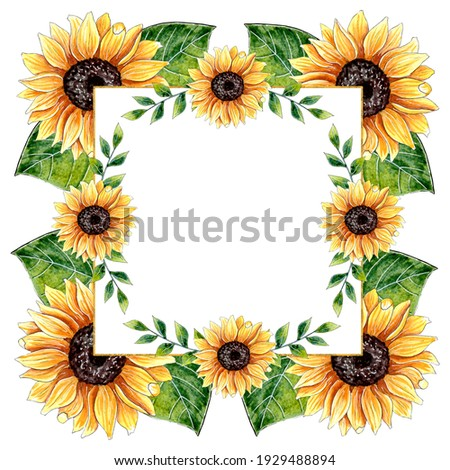 Watercolor Sunflower Frame. Perfect for wedding invitation, greeting card, branding, textile, wallpaper, ceramics, web design, cosmetic, social media and other.