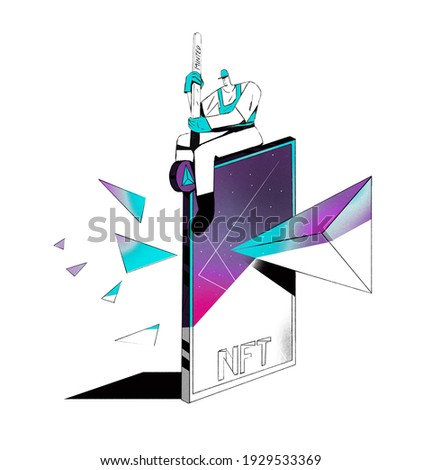 Minted nft token card with diamond. Cryptoart concept illustration for non-fungible token. Digital art with blockchain technology. Clip art isolated on white.