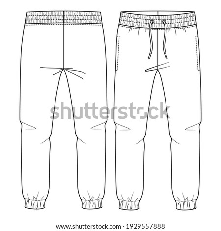 Kids Basic Fleece Sweat Pant fashion flat sketch template. Technical Fashion Illustration. Jogger CAD. Royalty-Free Stock Photo #1929557888
