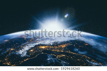 Planet earth globe view from space showing realistic earth surface and world map as in outer space point of view . Elements of this image furnished by NASA planet earth from space photos. Royalty-Free Stock Photo #1929618260