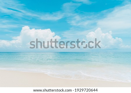 Beautiful tropical beach with blue sky and white clouds abstract texture background. Copy space of summer vacation and holiday business travel concept. Vintage tone filter effect color style. Royalty-Free Stock Photo #1929720644