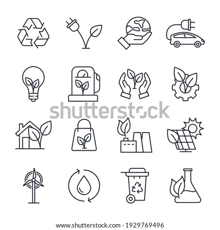 Set of ecology Environmental sustainability icon. Eco friendly pack symbol template for graphic and web design collection logo vector illustration Royalty-Free Stock Photo #1929769496