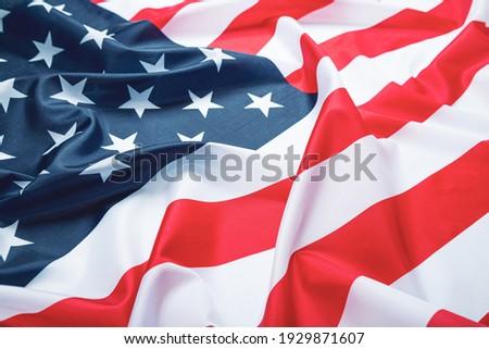 USA flag, close-up. Studio shot