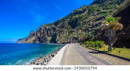 Jardim do Mar - Village with Promenade at beautiful coast of Madeira island, Calheta, Portugal. Royalty-Free Stock Photo #1930050794