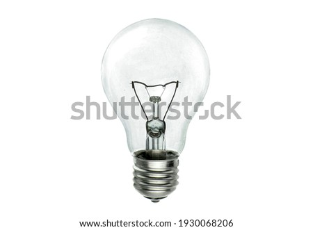Realistic photo of simple light bulb isolated on white background Royalty-Free Stock Photo #1930068206