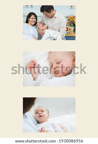 Composition of three photographs of happy caucasian couple and newborn baby on cream background. birthday photo presentation frame concept, digitally generated image.