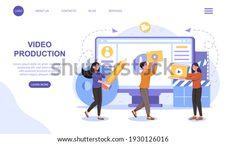 Motion design studio, video editor app, creating video online. Flat abstract metaphor cartoon vector illustration concept on isolated white background. website web page landing page ui template design