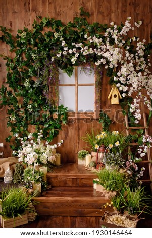 Spring backdrop.Backdrops for photo studio with spring decor for kids and family photo sessions.Selective focus. Royalty-Free Stock Photo #1930146464