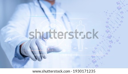 Medical science and biotechnology.Doctor touch on virtual interface with analysis chromosome DNA genetic of human Royalty-Free Stock Photo #1930171235
