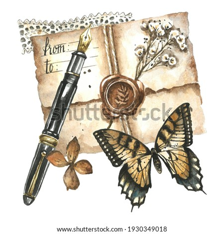 Antique objects - fountain pen, envelope, wax seal, dry flowers, butterfly, lace ribbon. Watercolor hand painted vintage correspondence illustration. Retro mail clipart isolated on white background.