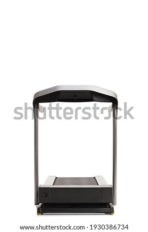 Front view of a treadmill running machine isolated on white background Royalty-Free Stock Photo #1930386734