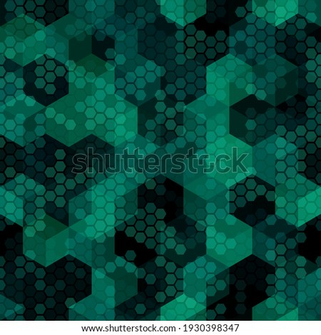 Texture military malachite green colors forest camouflage seamless pattern. Marsh and woodland hexagon snakeskin. Abstract army and hunting masking ornament texture. Vector illustration background