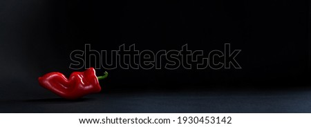 One red paprika on the black background