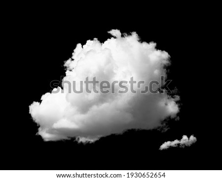 White cloud isolated on a black background. Mask with a cloud silhouette for photoshop.