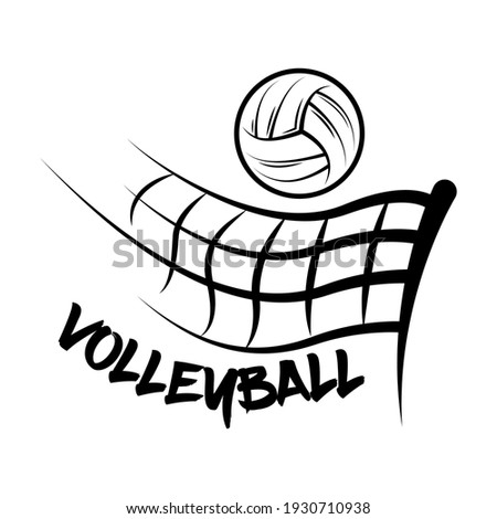 Logo Volleyball made with a drawing style. Volleyball ball fly over a volleyball net. vector illustration.