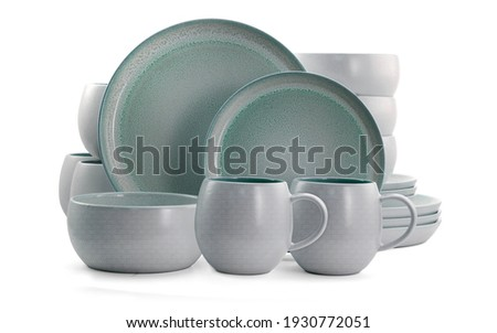 close up view of nice cookware set on white background, kitchenware set. Grey cookware set, Teacup Set Royalty-Free Stock Photo #1930772051
