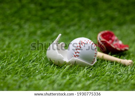 Baseball is in  egg shell for Easter Holiday on green grass