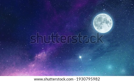 Low light and long exposure photography of the infinite deep space cosmos. Grainy texture and soft-focus background. Night sky Milky way with full Moon and universe constellation s in the background.  Royalty-Free Stock Photo #1930795982