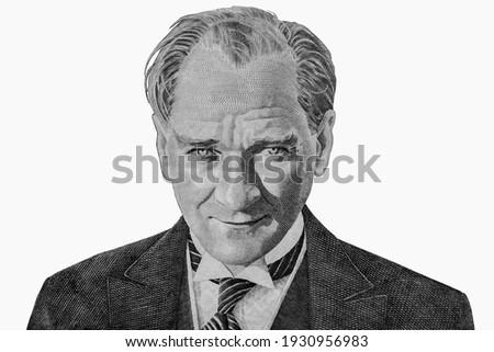 Mustafa Kemal Ataturk. Portrait of the first President of Turkey. Royalty-Free Stock Photo #1930956983