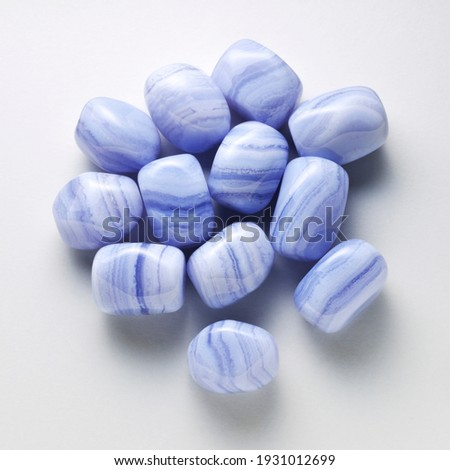 Natural blue lace agate on white background. Royalty-Free Stock Photo #1931012699