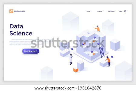 Landing page template with scientists or researchers and giant cubes. Concept of data science, cluster analysis, statistical information research. Modern isometric vector illustration for webpage. Royalty-Free Stock Photo #1931042870