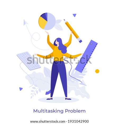 Woman with four hands holding keyboard, diagram, pencil, ruler. Concept of multitasking problem, switching between tasks, work organization, time management. Modern flat colorful vector illustration. Royalty-Free Stock Photo #1931042900