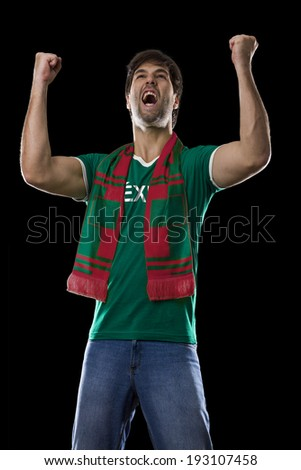 Mexican Fan Celebrating, on a black background. #193107458