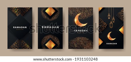 Ramadan Kareem modern design with geometric arabic gold pattern, sand, lanterns and bright crescent on black background.Template set of covers, gift cards, labeles, web banners, social media stories Royalty-Free Stock Photo #1931103248