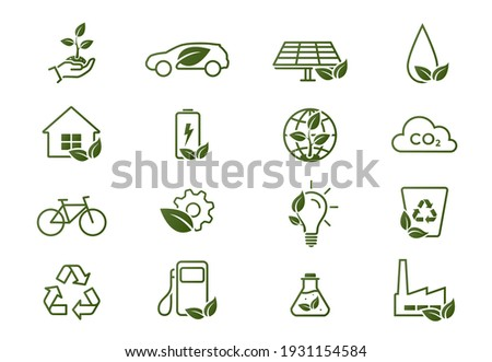 eco line icon set. environment, eco friendly, green technology and ecology symbols. isolated vector images in flat style Royalty-Free Stock Photo #1931154584