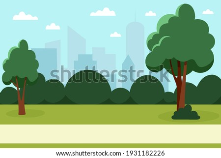 Summer park with trees and bushes in a big city. Nature in the city. Vector illustration in flat style Royalty-Free Stock Photo #1931182226