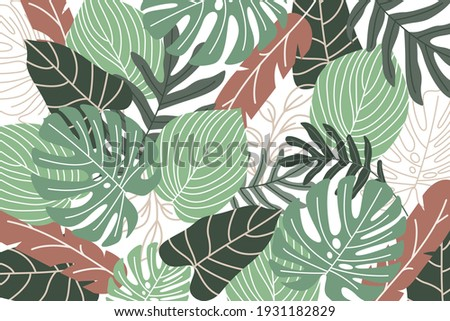 Tropical background with jungle plants. Palm leaves. Floral exotic hawaiian wallpaper. Rainforest. Summer tropical leaf. Exotic hawaiian jungle, summertime style. Summer vector illustration. Royalty-Free Stock Photo #1931182829