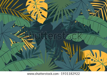 Tropical background with jungle plants. Palm leaves. Floral exotic hawaiian wallpaper. Rainforest. Summer tropical leaf. Exotic hawaiian jungle, summertime style. Summer vector illustration. Royalty-Free Stock Photo #1931182922