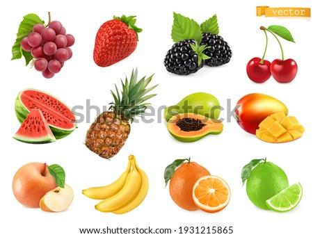 Sweet fruits. Grapes, strawberry, blackberry, cherry, watermelon, pineapple, papaya, mango, apple, banana, orange, lime. 3d realistic vector objects Royalty-Free Stock Photo #1931215865