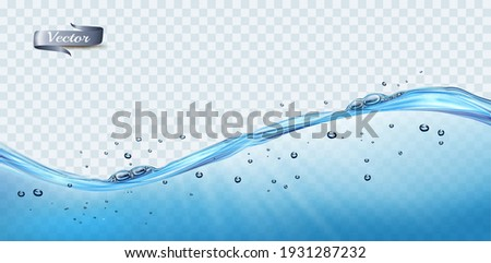 Transparent water waves with air bubbles and sunbeams on transparent background. Vector illustration