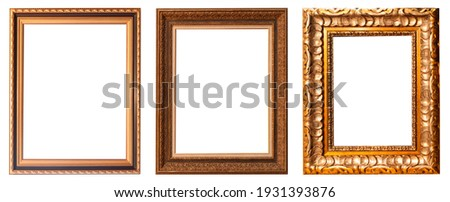 Set of gilded antique picture frames isolated on white background. Royalty-Free Stock Photo #1931393876
