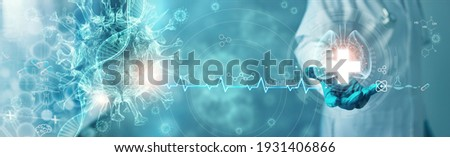 Healthcare and medicine, Covid-19, Doctor holding and diagnose virtual Human Lungs with coronavirus spread inside on modern interface screen on hospital background, Innovation and Medical technology. Royalty-Free Stock Photo #1931406866