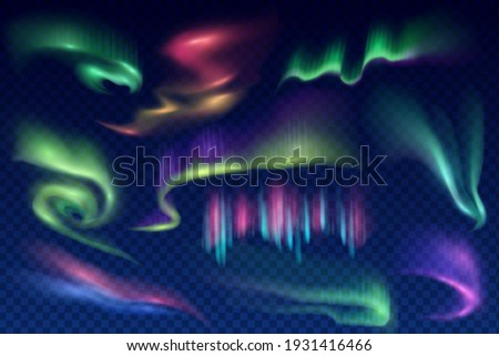 Arctic aurora borealis, vector polar lights, northern natural phenomena. Amazing iridescent glowing wavy illumination on night sky isolated on transparent background. Realistic 3d shining aurora set Royalty-Free Stock Photo #1931416466