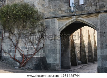 fragment of a wall with arch and tower of an ancient palace built in the form of a medieval castle Royalty-Free Stock Photo #1931426744
