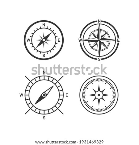 Vector black compass icons set on white background.