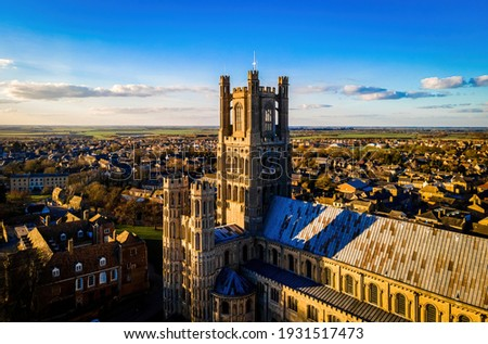 The aerial view of the cathedral of Ely, a city in Cambridgeshire, England, UK Royalty-Free Stock Photo #1931517473